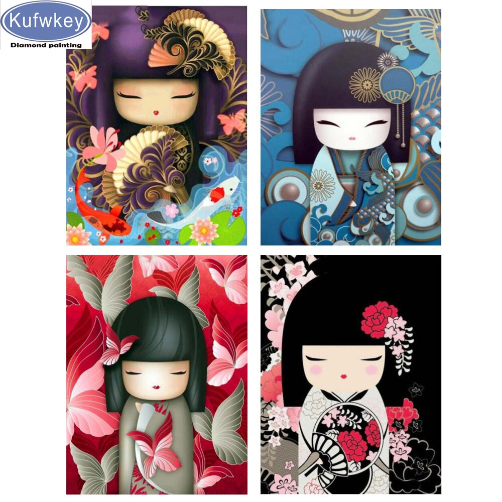Japonés, Kimono, dibujos animados, chica, 3D DIY pintura de diamante cuadrado completo/redondo Diamante de imitación pintura 5d diamante bordado mosaico,