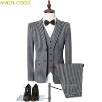 men suits for wedding mens suits slim fit 3 piece striped single breasted prom tuxedos classic business jacket blazer pants