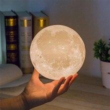 1PCS Moon Light Creative DIY Battery Light  3D Print Rechargeable Moon Lamp LED Night Light Moon Lig