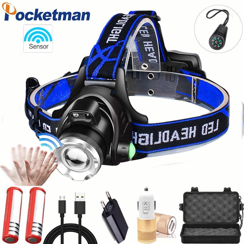 Mais poderoso led farol de pesca t6/l2/v6 3 modos zoomable lâmpada cabeça à prova dwaterproof água tocha lanterna cabeça lâmpada 18650