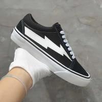 2021 top quality black white revenge canvas shoes fashion vulcanized shoes lightning yellow red men women strom skate sneakers