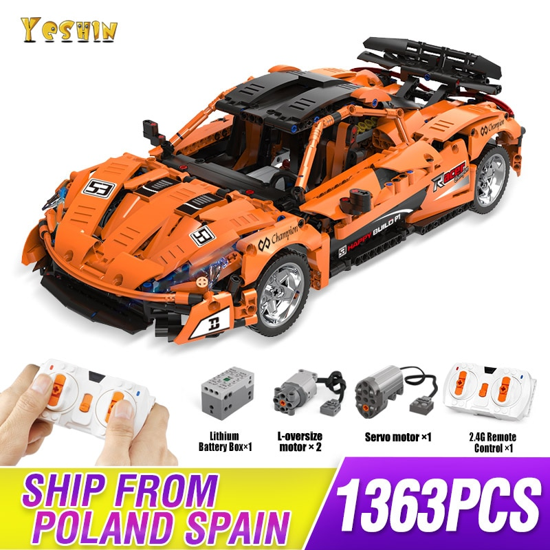 MOC Technic Series McLaren P1 Orange Racing Car APP RC Model Building LepinBricks 20087 Power Motor Function Education Toys