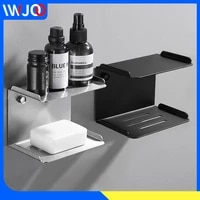 bathroom soap holder stainless steel black kitchen soap dish wall mounted shower caddy rack double layer cosmetic shampoo shelf