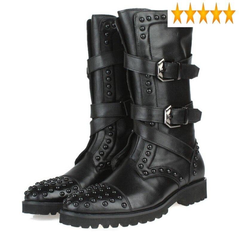 الكورية موضة الشرير نمط جديد الرجال أحذية كاوبوي مشبك سستة جولة تو ركوب عالية التمهيد ماركة جلد طبيعي فاخر حذاء أسود