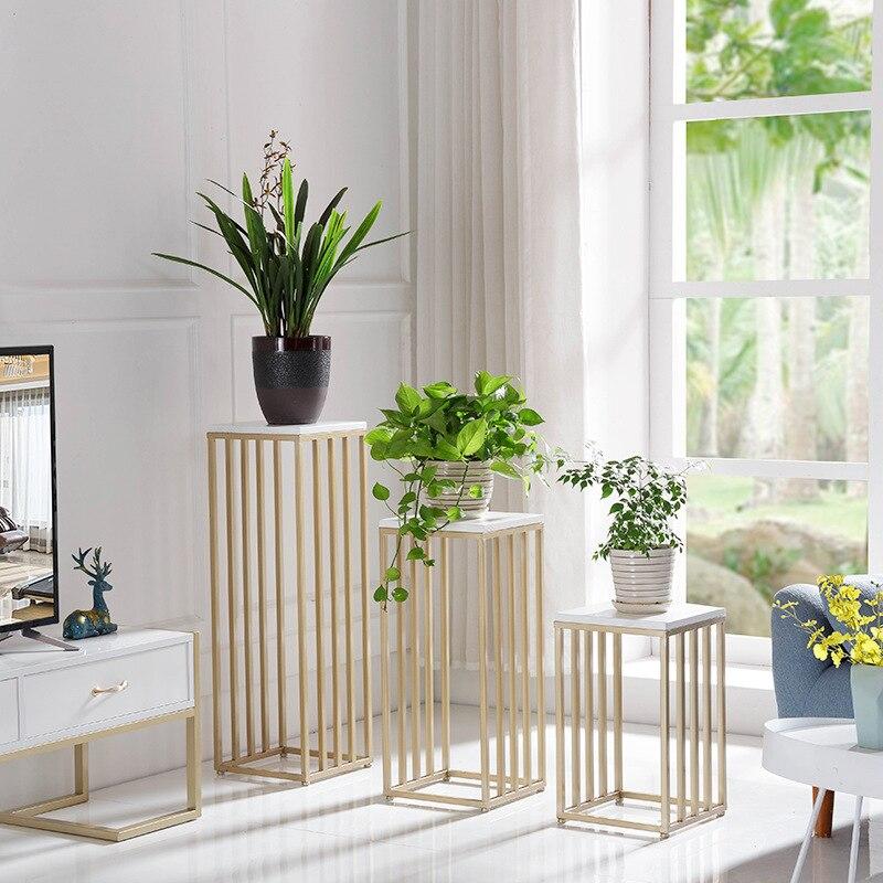 Nordic Golden Flower Stand Floor Plant Shelf Indoor Bedroom Living Room Home Decorative Plant Stand Metal Bonsai Display Stand