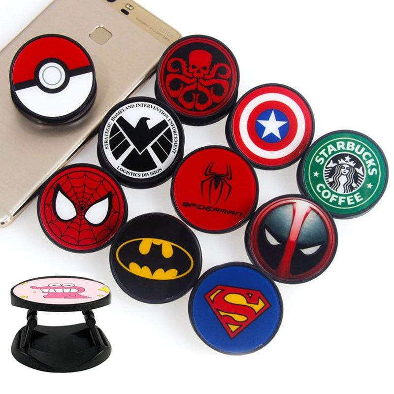 Cartoon Batman Spiderman Heros Foldable Phone Grip Finger Ring Phone Holder Phone Bracket For iPhone Stand Holder Phone Holders