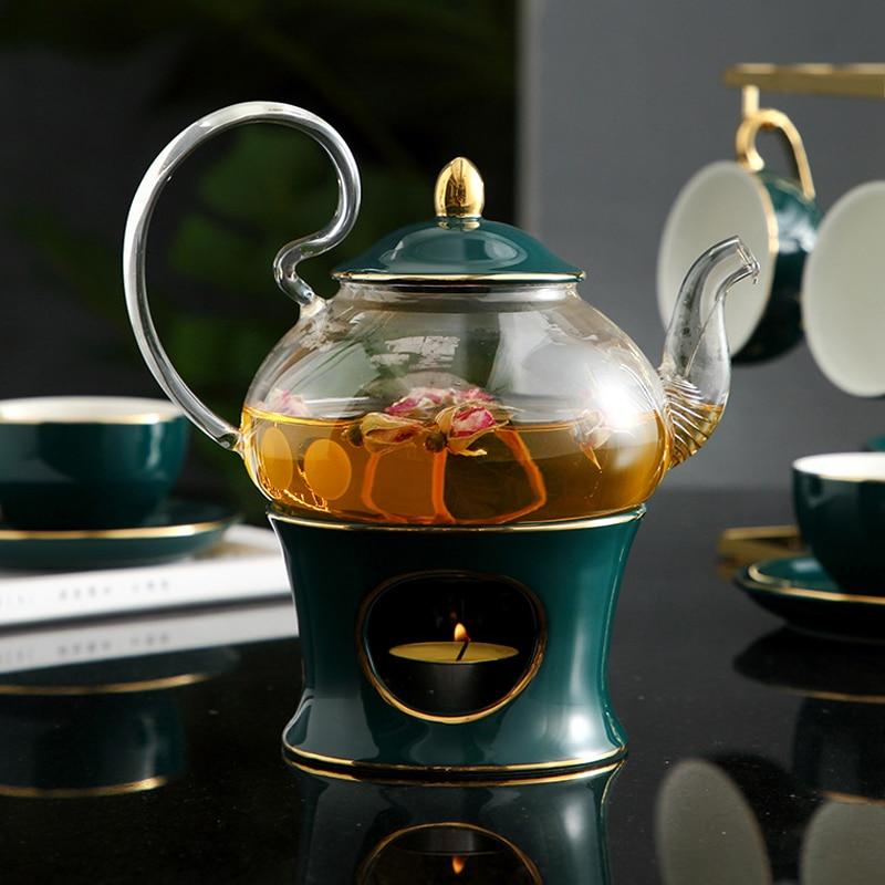 MUZITY أبريق شاي زجاجي مع إبريق شاي من السيراميك أسفل أنيق براد شاي أداة غلاية مع مصفاة وشمعة