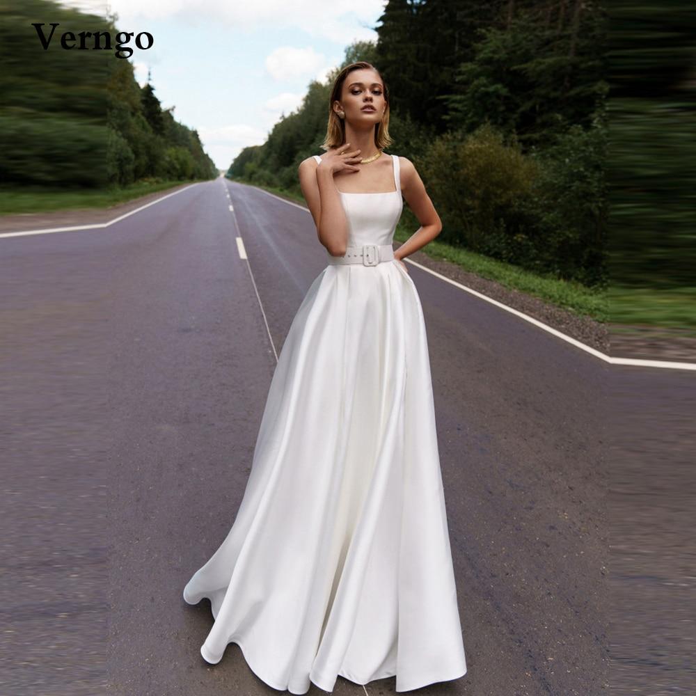 Verngo بسيط A خط فستان الزفاف 2021 مربع الرقبة الأشرطة طول الأرض رداء حفلات الزفاف مع حزام جلد المرأة فستان رسمي