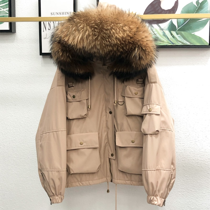 Large Natural Raccoon Fur Women Down Coat Winter Thick 90% White Duck Down Parka Female Hooded Short Jacket Loose Down Outerwear