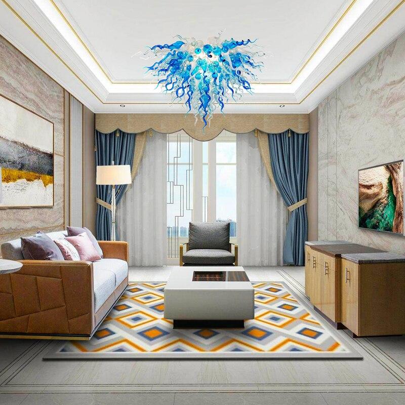 Потолочная лампа GIRBAN, Синий Ручной стеклянный кристалл, внутреннее освещение, люстры, светодиодный светильник, блеск, современные люстры дл...
