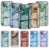 cute comic genshin impact glass coque case for iphone 11 12 pro 7 xr x xs max 8 6 6s plus se 2020 tempered back phone cover