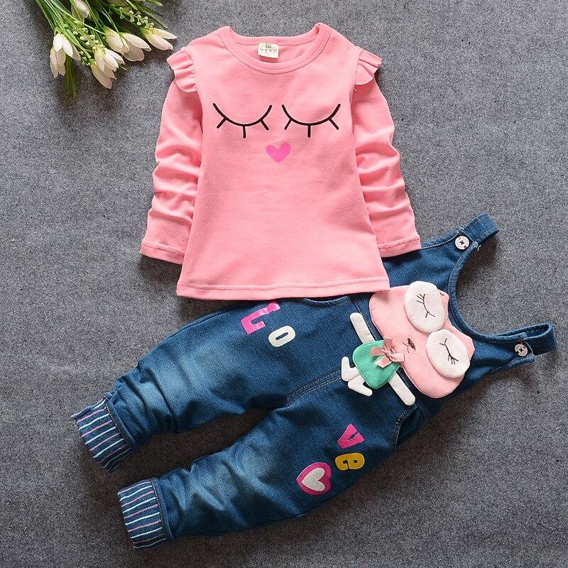 BibiCola 2020 primavera Otoño, conjunto de Ropa para Niñas, camiseta informal de manga larga + Mono de mezclilla, pantalones vaqueros, Ropa para Niñas