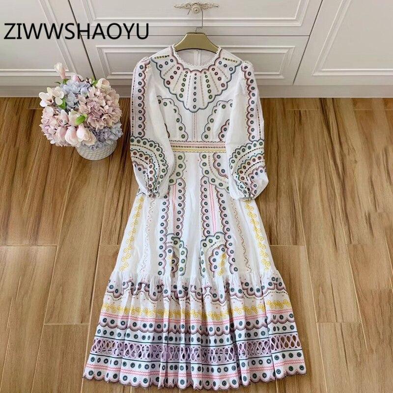 ZIWWSHAOYU, vestido de lino con bordado Multicolor de verano para mujer, mangas linterna con volantes, dobladillo, vestidos largos bohemios