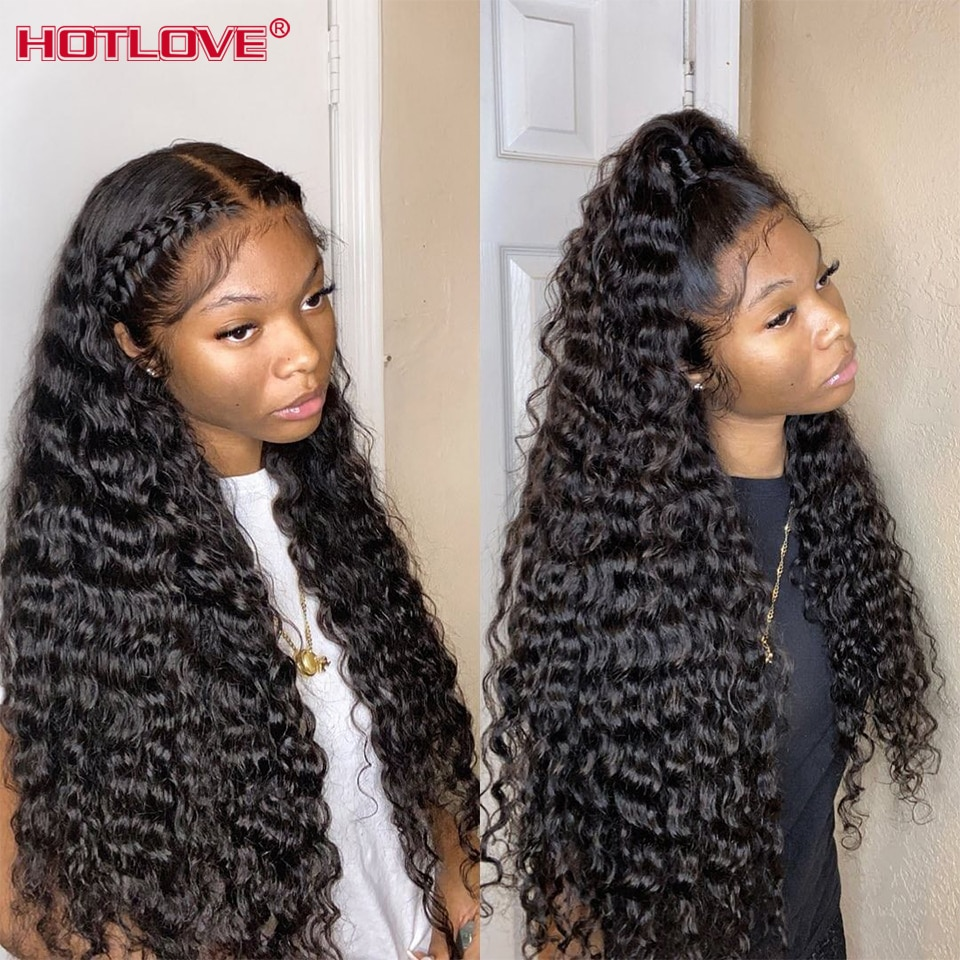 28 30 Inch Deep Wave 13x4 Lace Front Human Hair Wigs Pre Plucked Brazilian Lace Frontal Wig For Blac