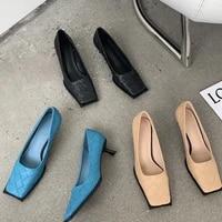 european and american temperament woven single shoes women 2021 new fashion high heels women stiletto square toe high heels