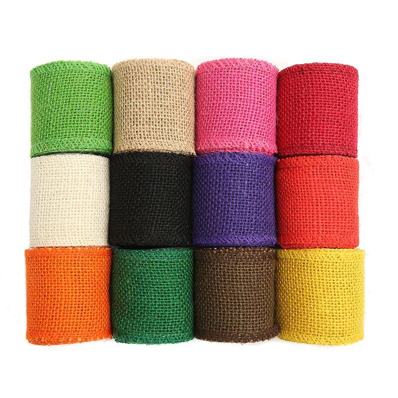 Rollo de cinta de arpillera natural para decoración, SUMINISTROS DE MESA DE...