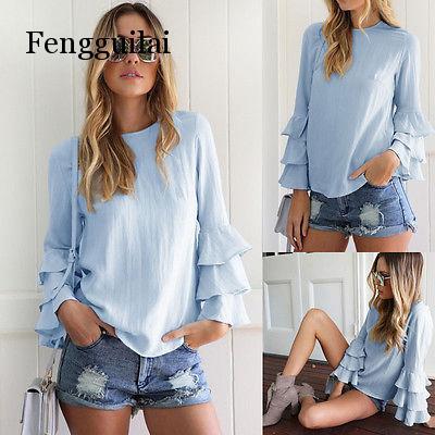 Blusa suelta de manga larga con volantes de verano a la moda para mujer, blusa informal, Tops, traje azul cielo, talla sólida