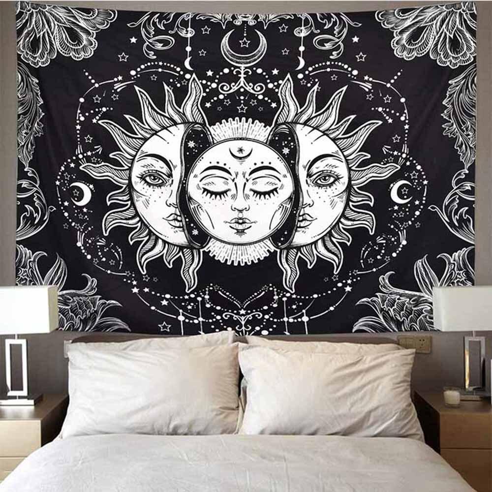 Mandala Tapestry White Black Sun And Moon Tapestry Wall Hanging Gossip Tapestries Hippie Wall Rugs Dorm Decor Blanket 95x73cm 1ps bohemia mandala blankets tapestry elephant wall hanging wandbehang gobelin blanket dorm home decor mantas mandalas