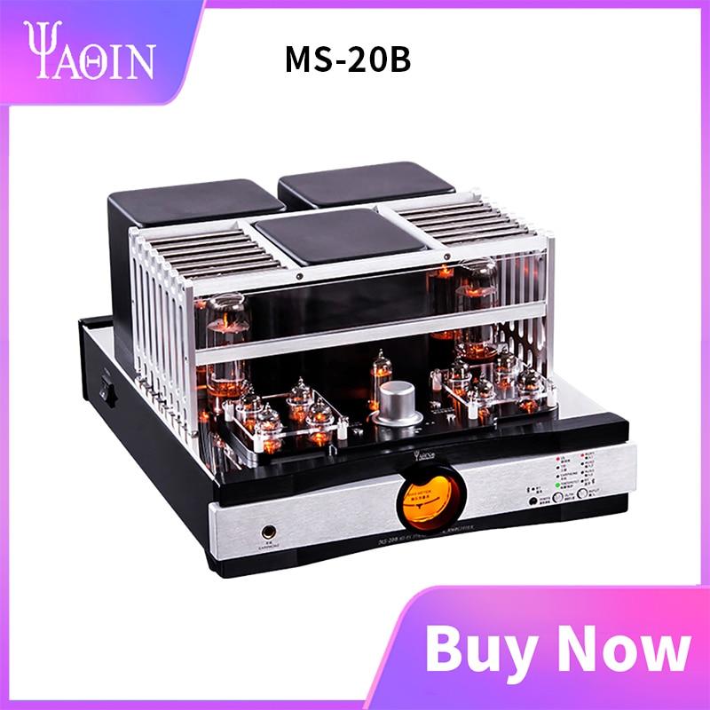 YAQIN MS-20B Bluetooth 5.0 tüp amplifikatör 6J1 6Z4 EL34 CSR8675 HiFi kombine push-pull ev ses amplifikatörü uzaktan kumanda ile