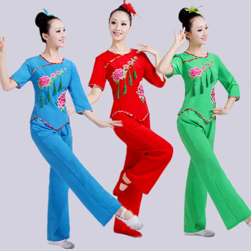 Китайский стиль, ханьфу, Янге, Национальный барабан, костюм, фанатский танц, танцевальный костюм, костюм для выступления