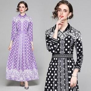 European American Fashion England Style Shirt Dress Long Sleeve Lace Patchwork Polka Dot Print Luxury Brand Designer Maxi Dress