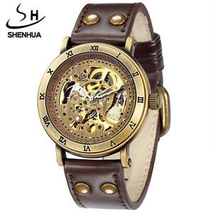 Мужские автоматические механические часы, мужские часы, Скелетон, само ветер, римские цифры, светящиеся стрелки, прозрачный циферблат, кожа...