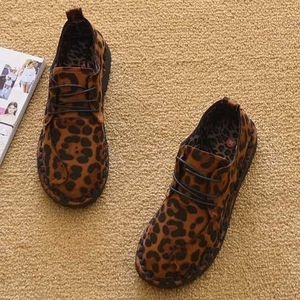 Shoes Woman Spring and Autumn Flat Keel Thin Shoes Leopord Pattern Sexy Women's Cotton-padded Shoes Loafers Flat Heel Fashion