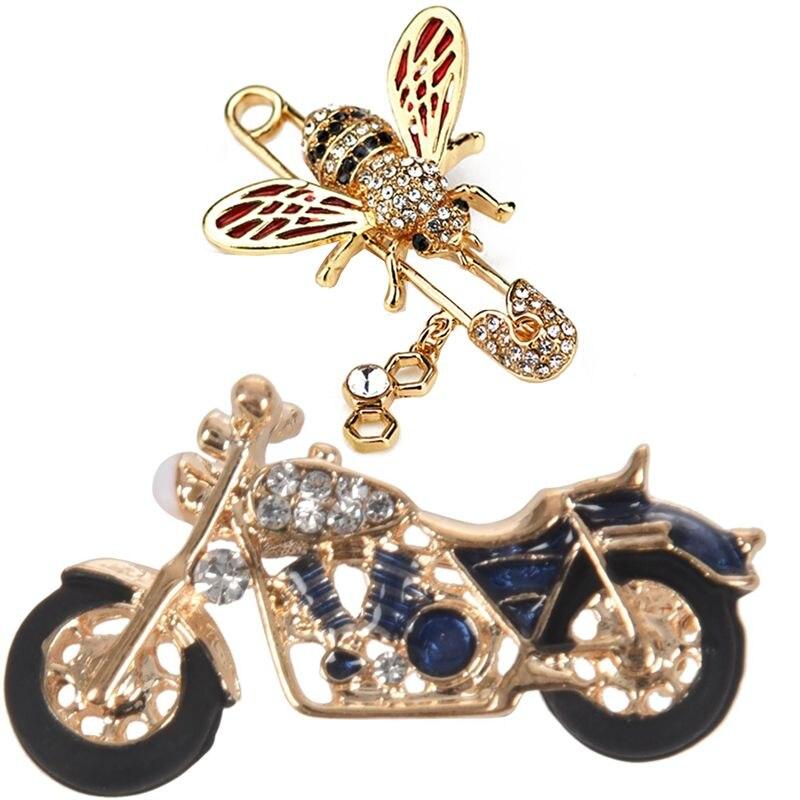 1 pçs da motocicleta broche de esmalte broches azul & 1 pçs bonito broches de abelha de cristal broche vermelho