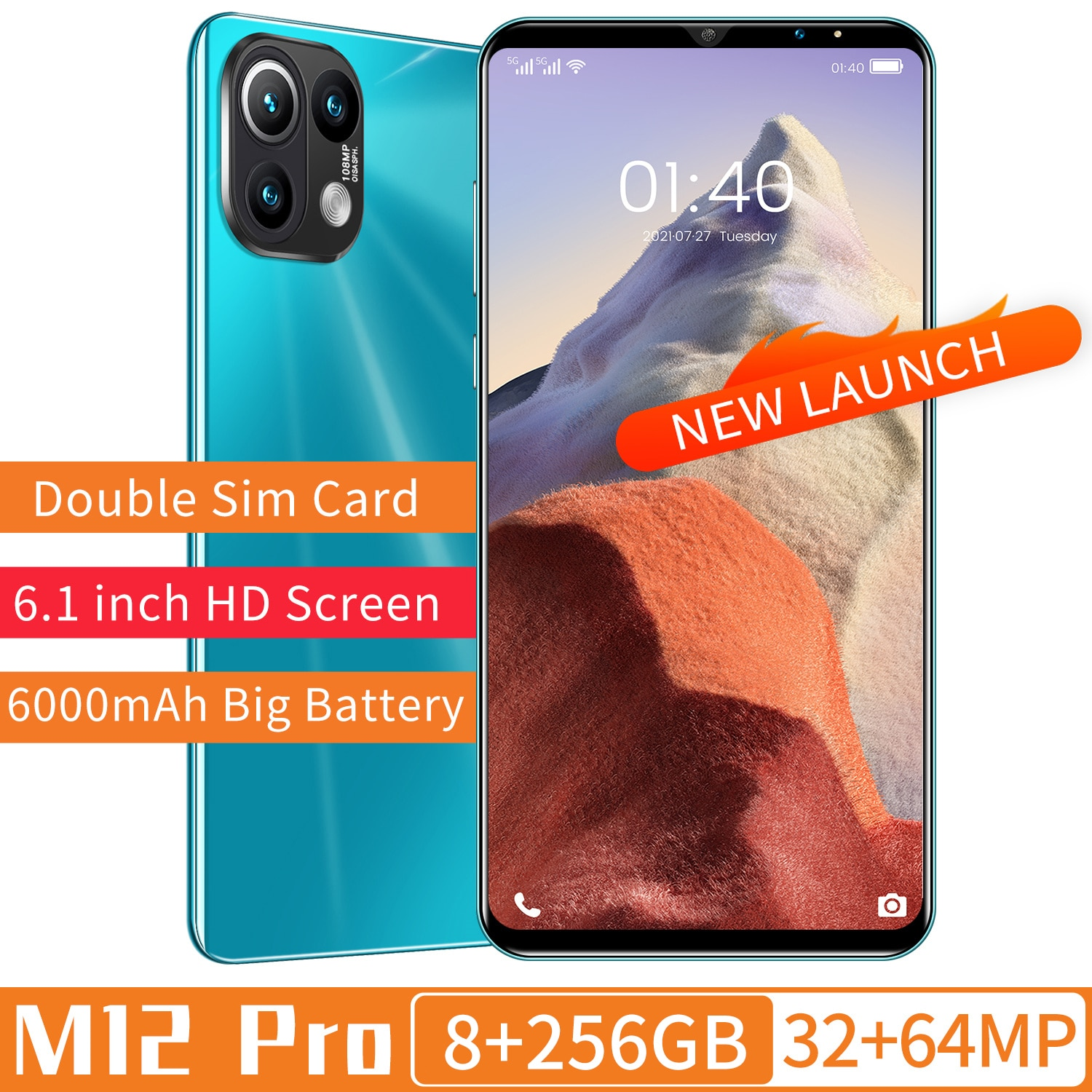 Hot Sale M12 Pro 1440*3200 8+256GB Android 11 6.1Inch Full Screen MTK6889 Deca Core 32+64MP Dual SIM Card 6000mAh Long Standby enlarge