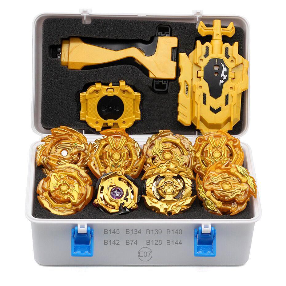 Takara tomy bey bay explosão conjunto nova combinação brinquedos arena lâmina de metal fusão lâmina lançador brinquedos