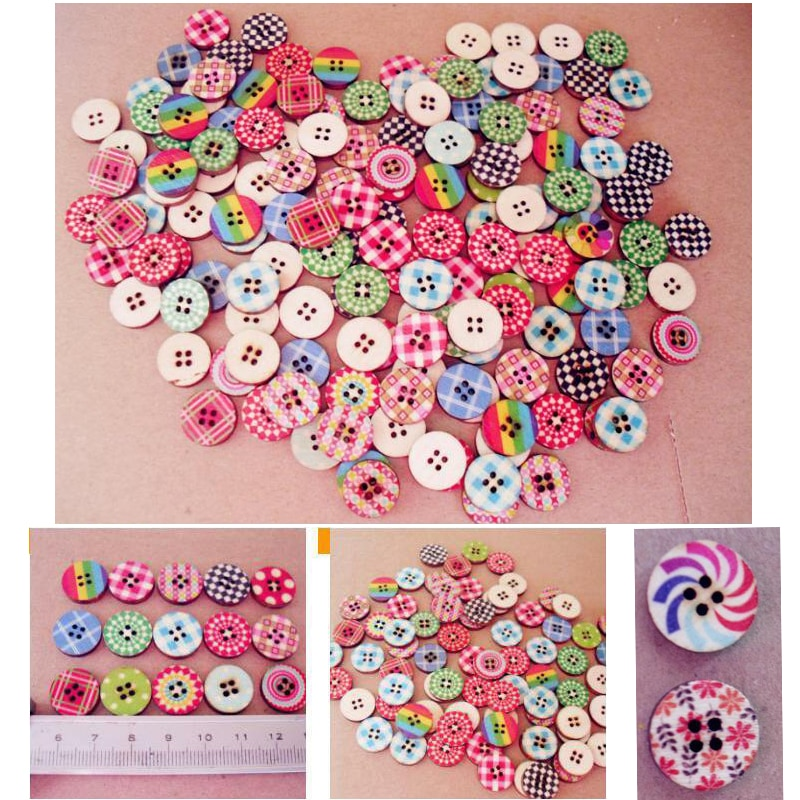 50 pçs cor pintura botões de madeira para handwork costura scrapbook vestuário artesanato acessórios presente cartão decoração 15mm