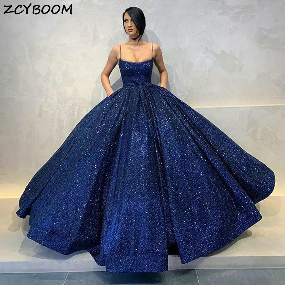 Темно-синие вечерние платья 2021, женские вечерние платья для торжества, элегантные блестящие платья с блестками на бретелях-спагетти, платья...