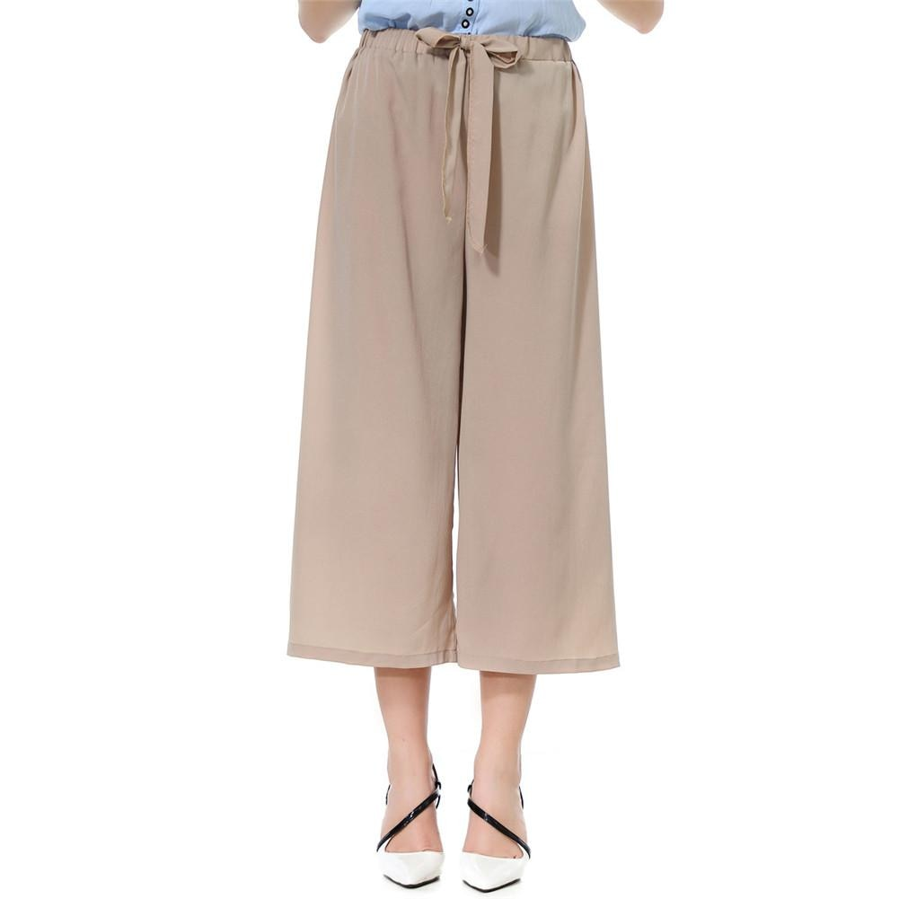 Polyester Women Solid Color/Striped Drawstring Wide Leg Trousers Loose Fit Pants Hand Wash Regular Wide Leg Without Pockets Pant