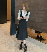 2021 autumn women new french retro suspender shirt dress 2 piece set casual high waist slim midi dress