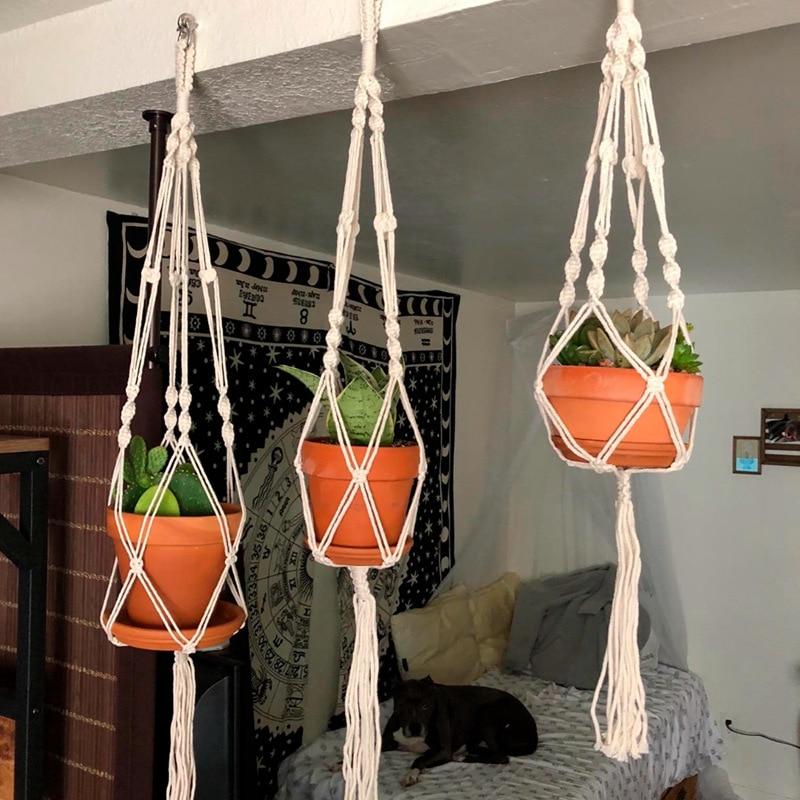 Macramé de planta hecha a mano, cestas para flores, porta macetas, decoración...