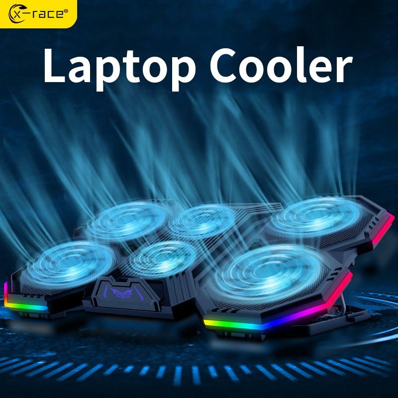 X-race-soporte para radiador de ordenador portátil, Enfriador de aire con 6 ventiladores,...