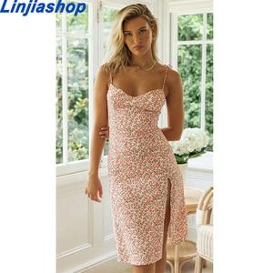 Pink Backless Braces Midi Dress Women Split Sexy Summer Dress French Style High Waist Slim Beach Dresses