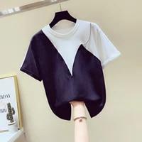 white and black patch cotton shirt women short sleeve t shirt womens 2020 spring summer new loose t shirt tee tshirt female