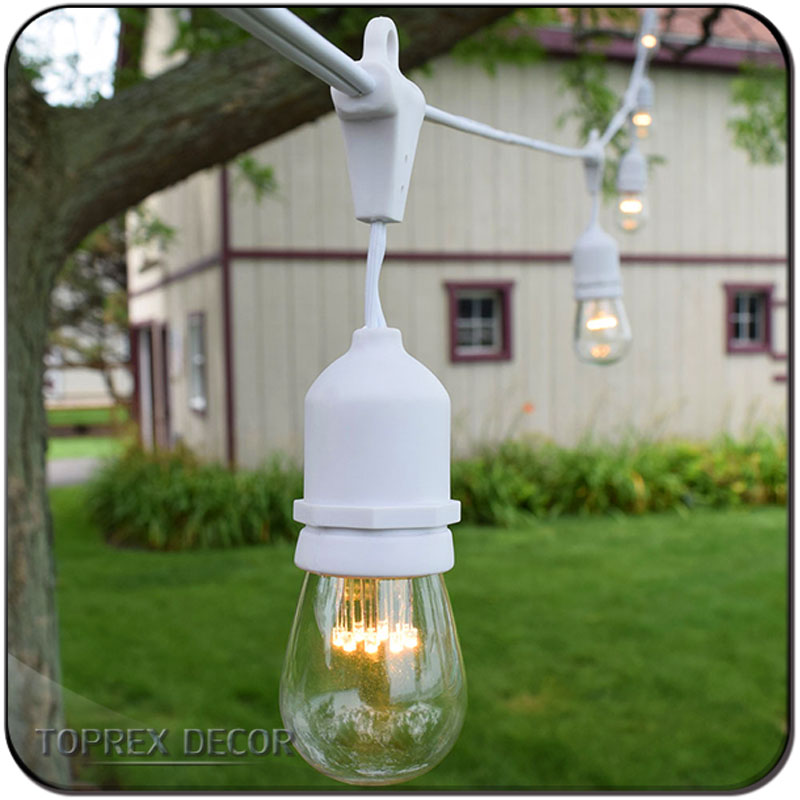 Toprex 10m E27 white rubber Dropping belt light backyard outdoor string lights festival patio lights christmas decoration