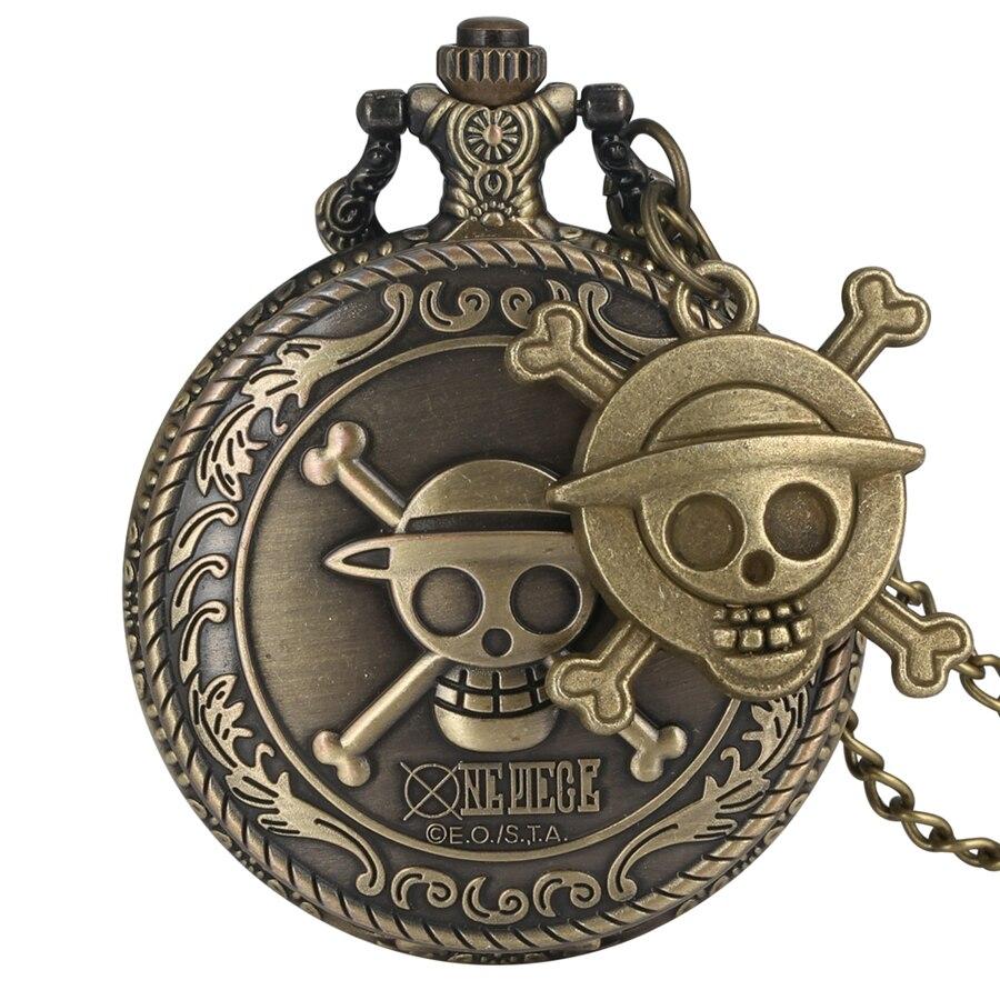 Винтажные кварцевые карманные часы с пиратом Луффи, мужские часы, женский подарок, уникальная подвеска для косплея, reloj с аксессуарами в виде черепа