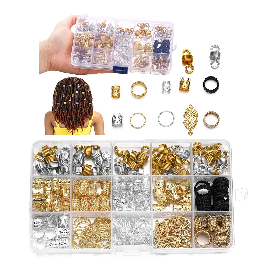 200pcs/1Box 12Style Gold Charm Dreadlock Bead Clip Cuffs Spring Crown Hollow Hair Tube Alloy Leaves Pendant for Hair Accessories