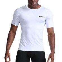 Nouveau séchage rapide chemise de course hommes musculation Sport T-shirt à manches courtes haut de Compression gymnase T-shirt hommes Fitness serré