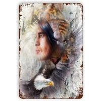 tiger eagle indian warrior headdress illustrationtin sign wall iron painting wall decor art retro plaques poster hanging