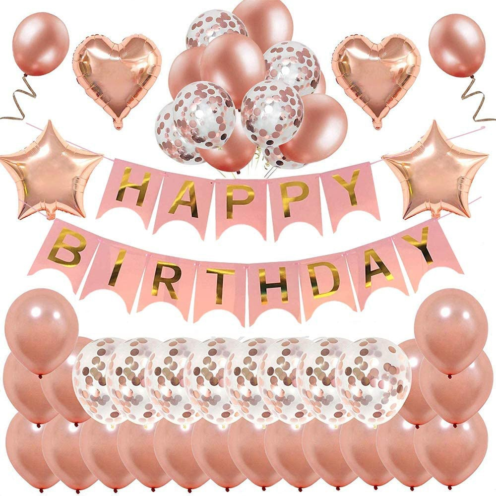 36pcs Rose gold Birthday Decoration Balloon Set Letter Happy Baby Shower Party Decor Kids