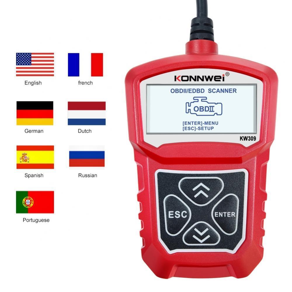 Считыватель кодов KW309 MS309 U480 OBD2/EOBD, сканер, автомобильный диагностический инструмент, точный, легко читать, 7 языков, диагностические инструм...