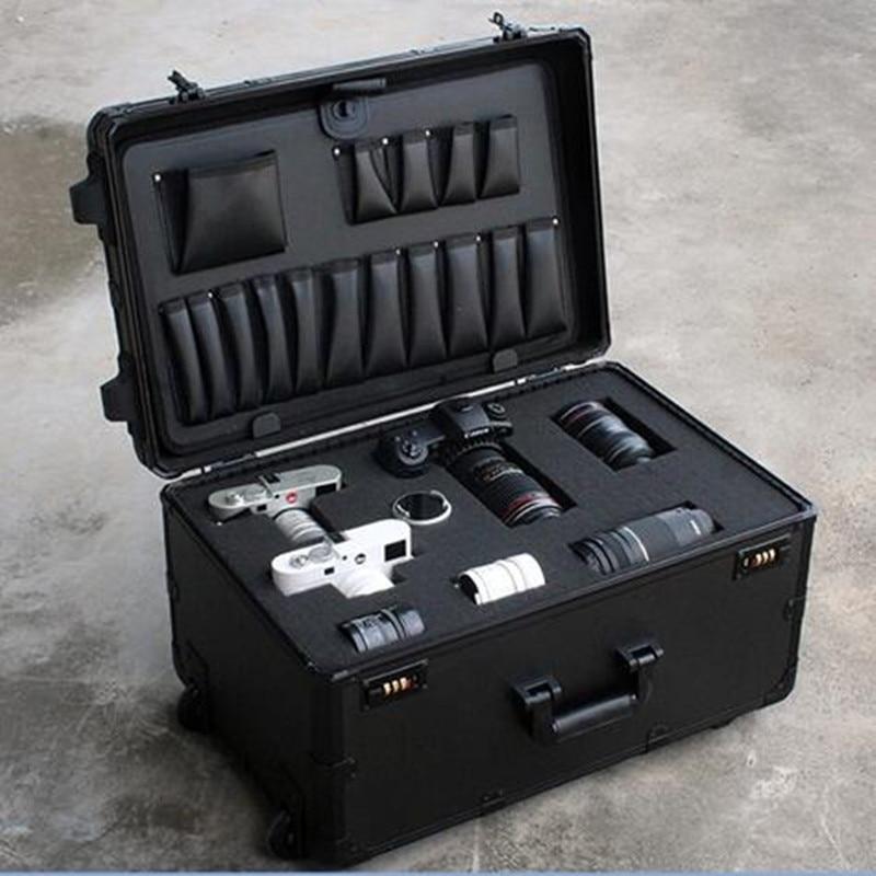Case à Prova de Choque Caixa de Armazenamento com Esponja Câmera Trole Case Equipamento Fotografia Airpods Moisturreproof Treliça 37l Slr
