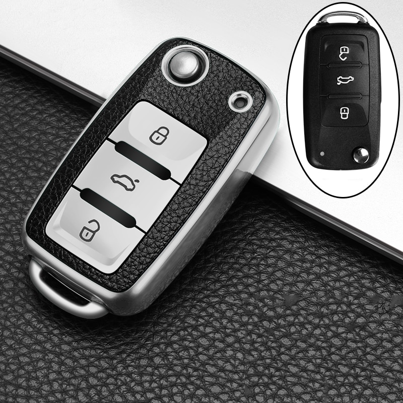 TPU Leather Car Key Case for VW Jetta Golf 4 5 6 Polo Bora Passat B5 B6 Car Accessories Remote Control Key Holder Key Cover