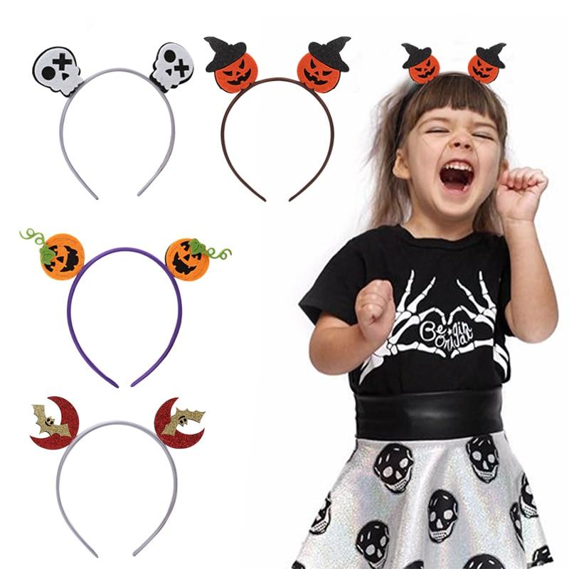 Children's Halloween Hair Bands Glitter Pumpkin Bat Headbands Hoops Kids Halloween Party Headwear scrunchies Hair Accessories