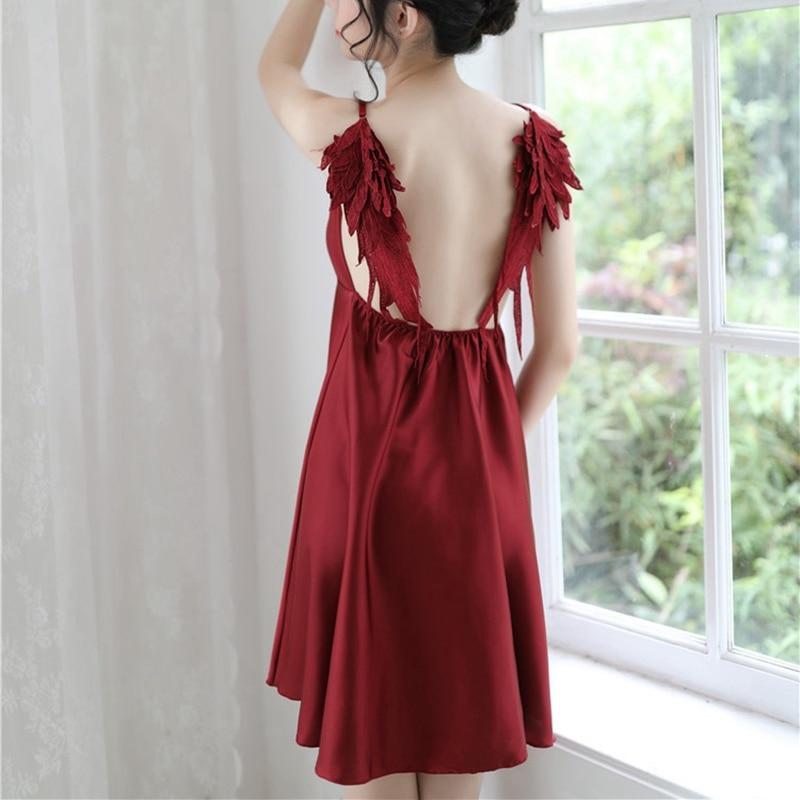 Womens Nightgown Sleepwear Silk Lingere Backless Night Dress  Sexy  Ropa Sexy Para El Sexo Lingerie Women Underwear Deep V-neck