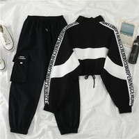 womens sweatpants safari style korean lace up stretch high waist trousers 2020 new letter pockets causal cargo pants for woman